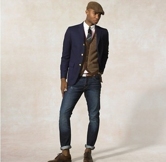 How to wear: navy blazer, brown cardigan, white dress shirt, navy jeans