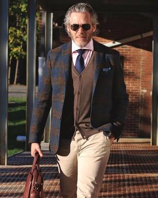 How to wear: navy plaid wool blazer, brown cardigan, pink dress shirt, beige chinos