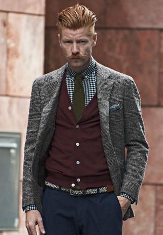 How to wear: grey plaid wool blazer, burgundy cardigan, navy and white gingham dress shirt, navy chinos
