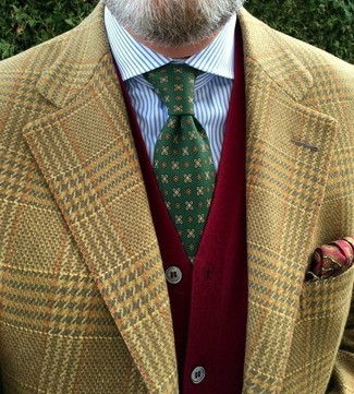 How to wear: tan houndstooth blazer, red cardigan, white and blue vertical striped dress shirt, green print tie