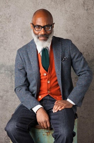 How to wear: grey wool blazer, orange cardigan, white dress shirt, black jeans