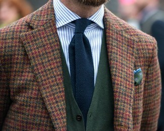 How to wear: brown gingham wool blazer, dark green cardigan, white and blue vertical striped dress shirt, navy knit tie