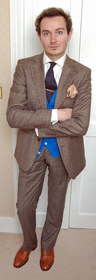How to wear: brown plaid wool blazer, blue cardigan, white dress shirt, brown plaid wool dress pants