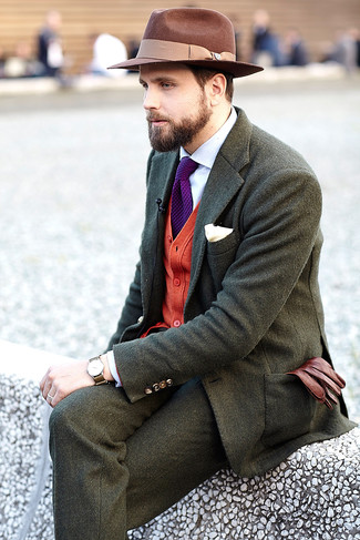 How to wear: olive wool blazer, red cardigan, white dress shirt, olive wool dress pants