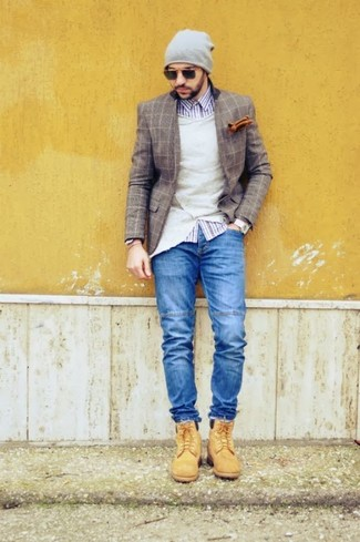 How to wear: brown check wool blazer, beige cardigan, white and navy gingham long sleeve shirt, blue jeans