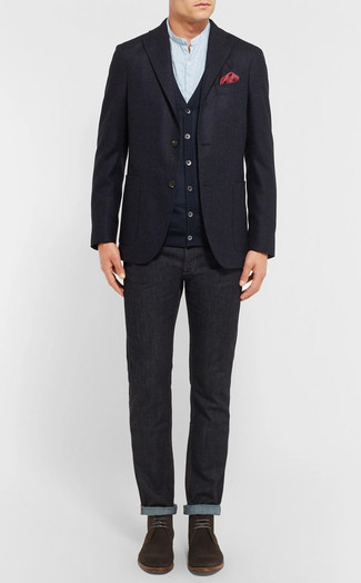 How to wear: navy wool blazer, navy cardigan, light blue long sleeve shirt, black jeans