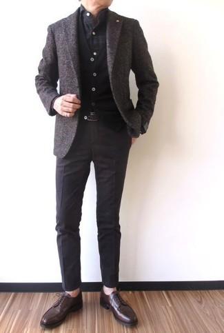 How to wear: dark brown wool blazer, black cardigan, charcoal check long sleeve shirt, dark brown dress pants