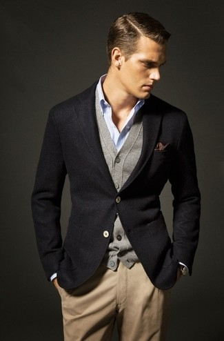 Men's Black Wool Blazer, Grey Cardigan, Light Blue Long Sleeve Shirt, Khaki Chinos