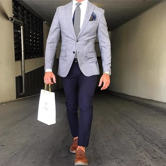 How to wear: grey blazer, navy chinos, tobacco leather derby shoes, navy herringbone silk tie