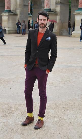 How to wear: black wool blazer, red crew-neck sweater, dark purple chinos, brown leather brogues