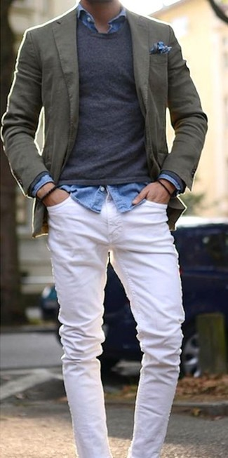 How to wear: olive cotton blazer, charcoal crew-neck sweater, light blue denim shirt, white jeans