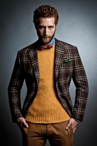 How to wear: dark brown plaid wool blazer, orange crew-neck sweater, blue denim shirt, tobacco chinos