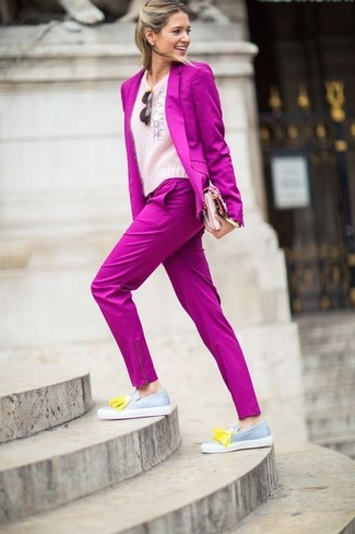 How to wear: hot pink blazer, pink fluffy crew-neck sweater, hot pink dress pants, grey leather tassel loafers