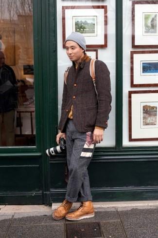 How to wear: dark brown wool blazer, mustard crew-neck sweater, charcoal wool dress pants, tan leather brogue boots