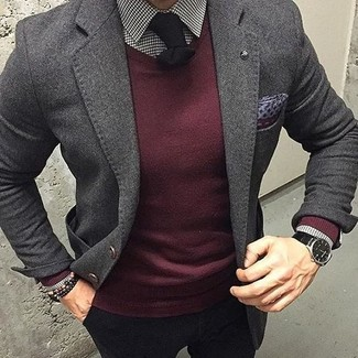 How to wear: charcoal wool blazer, burgundy crew-neck sweater, white and black gingham dress shirt, black chinos