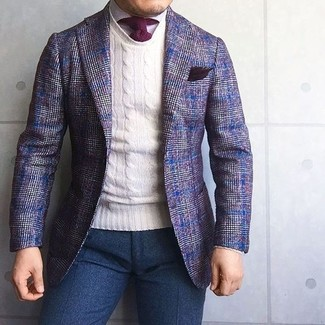 How to wear: violet plaid wool blazer, white crew-neck sweater, white dress shirt, navy wool dress pants