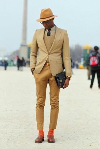 How to wear: tan blazer, tan crew-neck sweater, beige dress shirt, khaki chinos