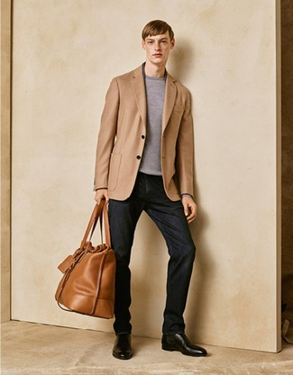 How to wear: tan blazer, grey crew-neck sweater, black jeans, black leather chelsea boots