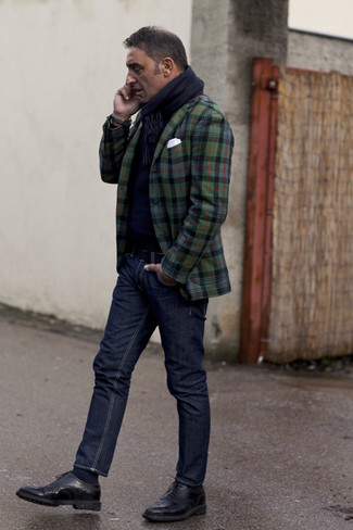 How to wear: dark green plaid blazer, navy crew-neck sweater, navy jeans, black leather brogues