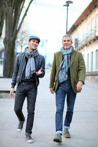 Men's Olive Wool Blazer, Charcoal Crew-neck Sweater, Blue Jeans, Dark Green Suede Derby Shoes