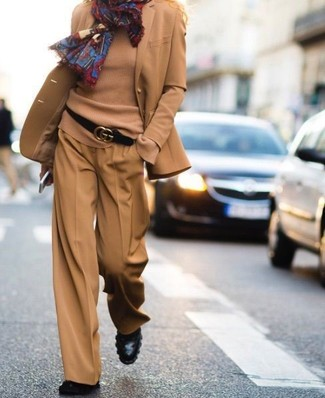 How to wear: tan wool blazer, tan crew-neck sweater, tan wide leg pants, black leather ankle boots