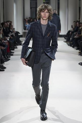 How to wear: navy plaid blazer, grey crew-neck t-shirt, charcoal wool dress pants, black leather monks