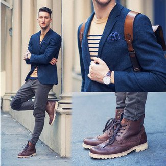 How to wear: navy wool blazer, tan horizontal striped crew-neck t-shirt, grey jeans, burgundy leather brogue boots