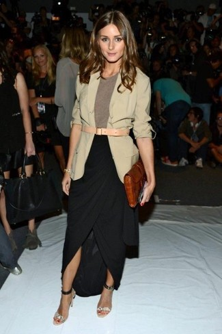 Olivia Palermo wearing Beige Blazer, Brown Crew-neck T-shirt, Black Slit Maxi Skirt, Grey Snake Leather Heeled Sandals