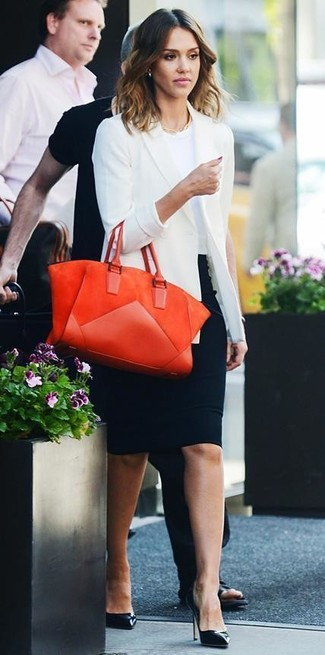 Jessica Alba wearing White Blazer, White Crew-neck T-shirt, Black Pencil Skirt, Black Leather Pumps
