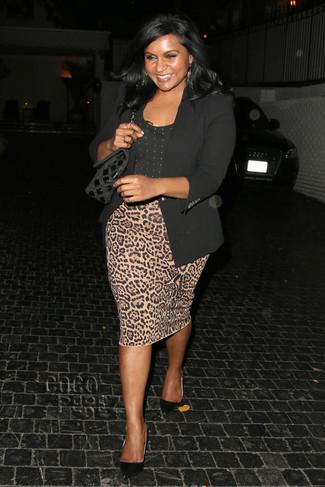 How to wear: black blazer, black polka dot crew-neck t-shirt, tan leopard pencil skirt, black suede pumps