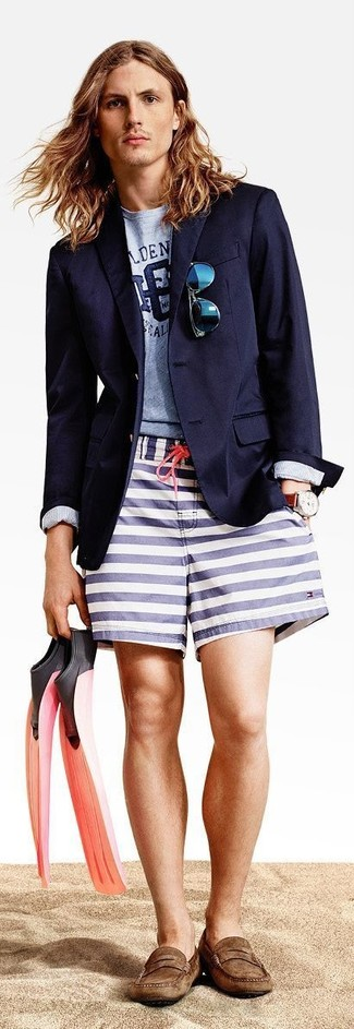 How to wear: navy blazer, light blue print crew-neck t-shirt, white and navy horizontal striped shorts, brown suede driving shoes