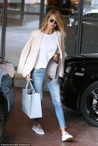 Stylish yet comfortable, this ensemble features a pink blazer and a New Look women's Venus Mini Bowler Handbag Light Blue. Rock a pair of grey low top sneakers for a more relaxed feel. This look is super comfortable and will help you out in weird transition weather.