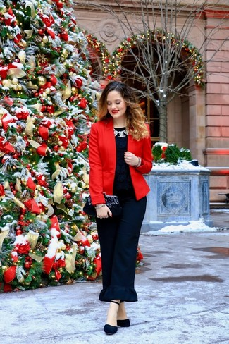 How to wear: red blazer, black lace crew-neck t-shirt, black ruffle tapered pants, black suede pumps