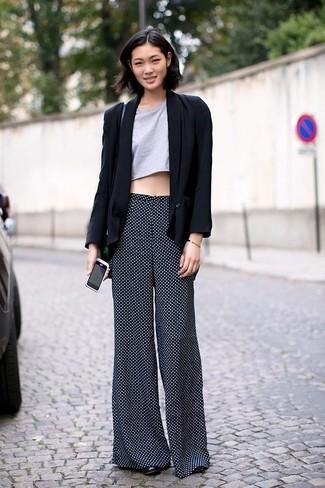How to wear: black blazer, grey cropped top, black polka dot wide leg pants, black leather pumps