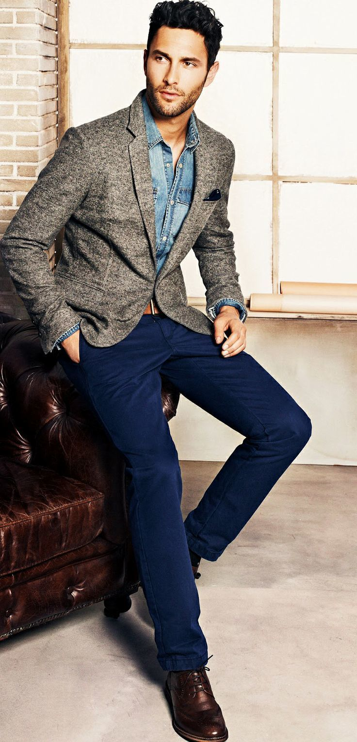 How to wear a grey blazer with navy pants mens fashion dress in a grey sport coat and navy blue chino pants to look classy but not ombrellifo Image collections