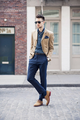 How to wear: tan blazer, blue denim shirt, navy dress pants, tan suede derby shoes
