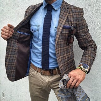 How to wear: brown plaid wool blazer, light blue denim shirt, khaki jeans, navy knit tie