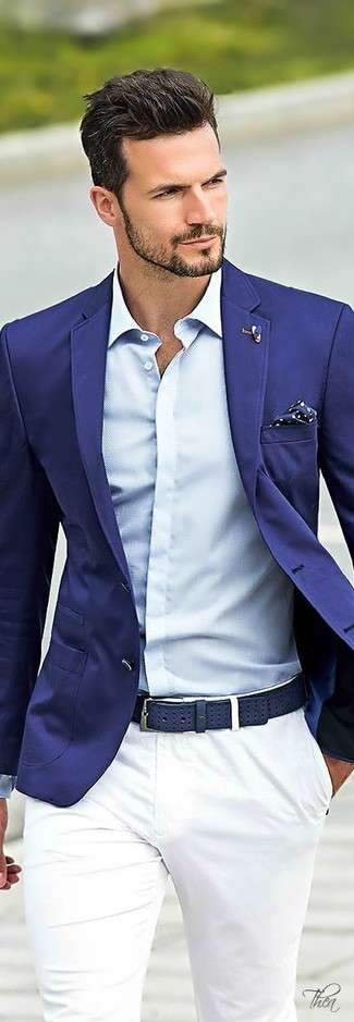 How to wear: blue blazer, light blue dress shirt, white chinos, navy and white polka dot pocket square