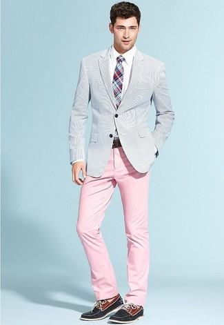 How to wear: light blue seersucker blazer, white dress shirt, pink chinos, navy suede boat shoes
