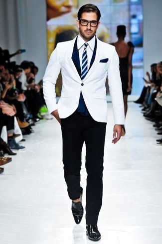 How to wear: white blazer, white dress shirt, black chinos, black leather loafers