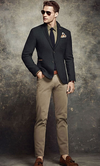 How to wear: black wool blazer, olive dress shirt, khaki chinos, brown suede tassel loafers