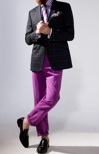 How to wear: black plaid blazer, purple vertical striped dress shirt, purple chinos, black leather loafers
