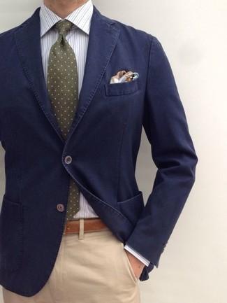 How to wear: navy cotton blazer, white vertical striped dress shirt, khaki chinos, olive polka dot tie