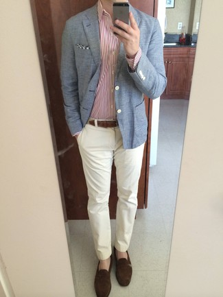 How to wear: light blue blazer, white and red vertical striped dress shirt, white chinos, dark brown suede loafers