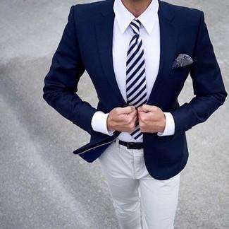 How to wear: navy blazer, white dress shirt, white chinos, white and navy horizontal striped tie