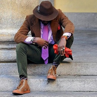 How to wear: brown corduroy blazer, violet vertical striped dress shirt, olive corduroy chinos, tan leather high top sneakers