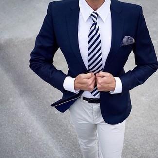 How to wear: navy blazer, white dress shirt, beige chinos, navy and white vertical striped tie