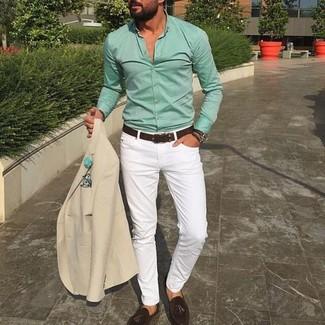 How to wear: beige blazer, mint dress shirt, white chinos, dark brown suede tassel loafers