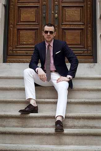 How to wear: navy blazer, pink dress shirt, white chinos, dark brown leather double monks