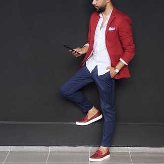 How to wear: red blazer, white dress shirt, navy chinos, red leather tassel loafers
